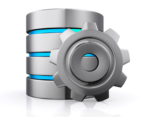 3d cloud icon and gear, database concept-cloud computing.