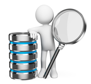 3d white people. Search in database concept. Man with Magnifying glass and conceptual database. Isolated white background.