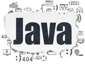 Programming concept: Painted black text Java on Torn Paper background with  Hand Drawn Programming Icons